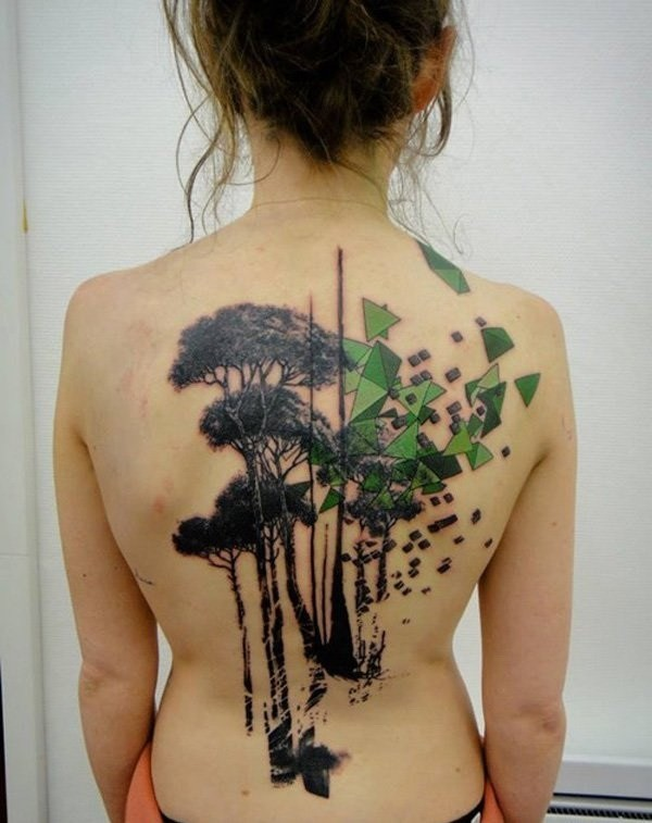 Art-Tree-Tattoo-On-Back-For-Girls 60 Awesome Back Tattoo Ideas