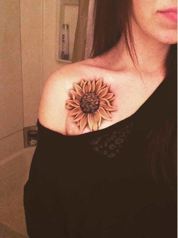Attractive-Shoulder-Tat-With-Sunflower Amazing Sunflower Tattoo Ideas