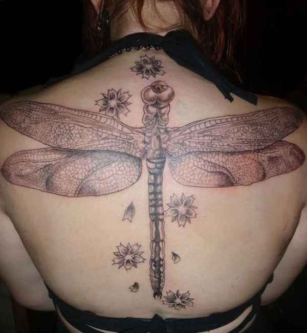 Awesome-Detailed-Dragonfly-Tattoo-On-Back 60 Awesome Back Tattoo Ideas