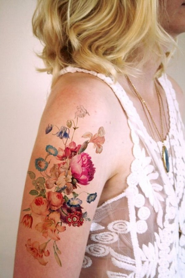 Colorful-Floral-Tattoo-Shoulder Pretty Flower Tattoo Ideas
