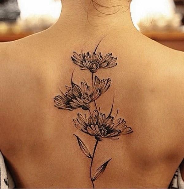 Daisy-Tattoo-On-Back 60 Awesome Back Tattoo Ideas