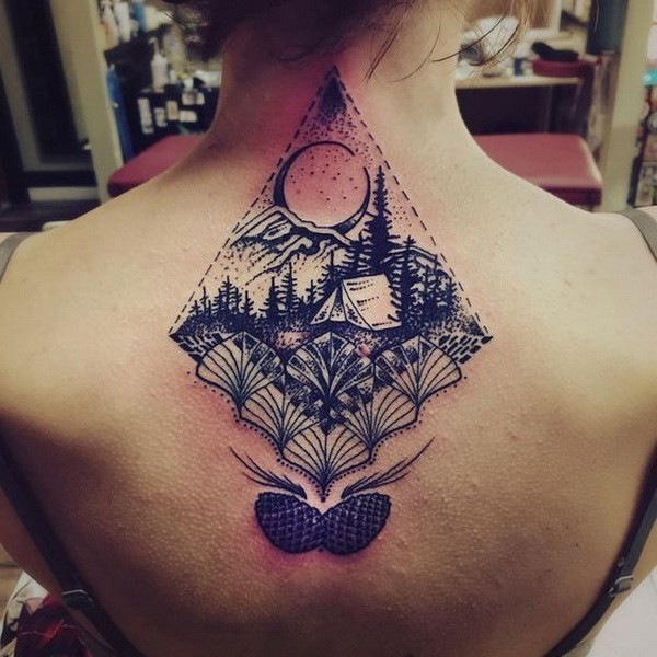Etched-Camping-And-Nature-Scenery-Tattoo 60 Awesome Back Tattoo Ideas