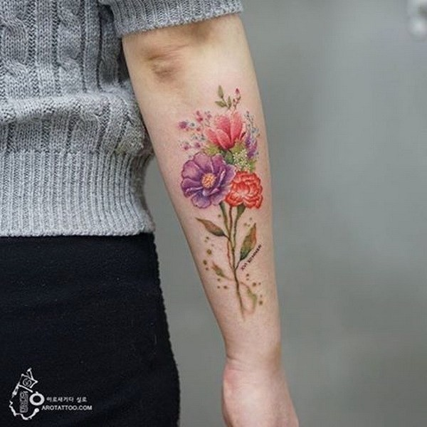 Floral-Tattoo-On-Forearm Pretty Flower Tattoo Ideas