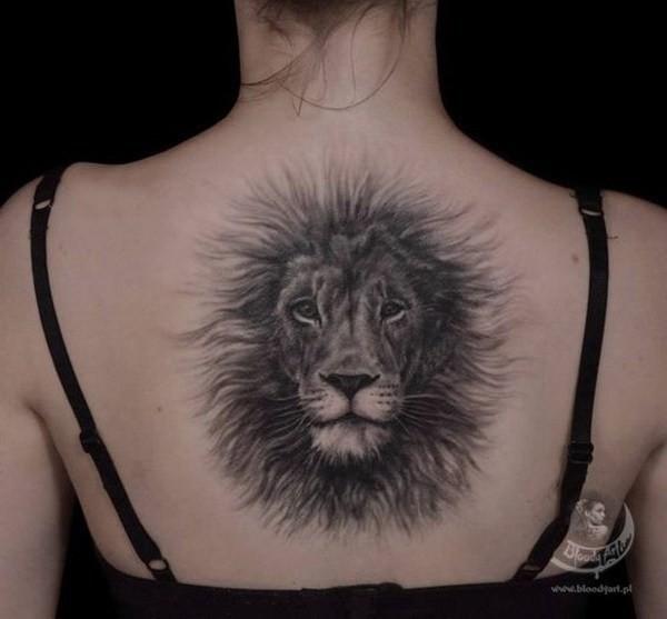 Fluffy-Lion-Back-Tattoo 60 Awesome Back Tattoo Ideas