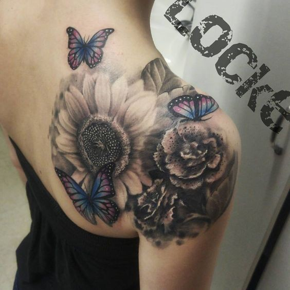 Gray-Wash-Flowers-And-Butterflies Amazing Sunflower Tattoo Ideas