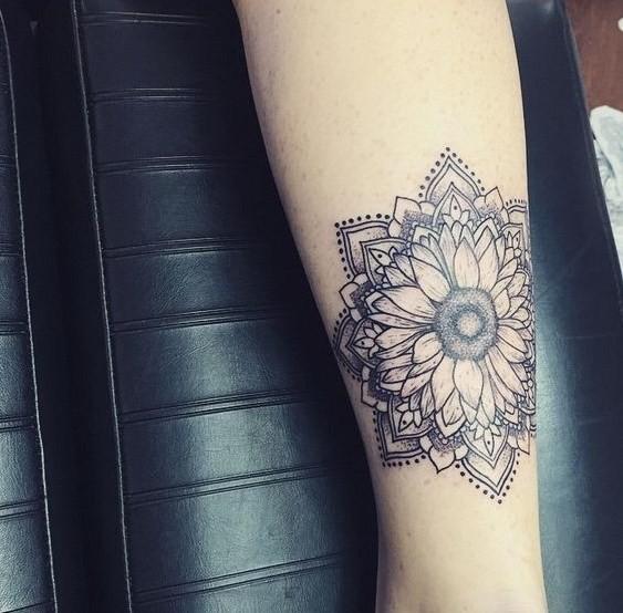 Hippie-Boho-Mandala-Sunflower-Women-Tattoo Amazing Sunflower Tattoo Ideas
