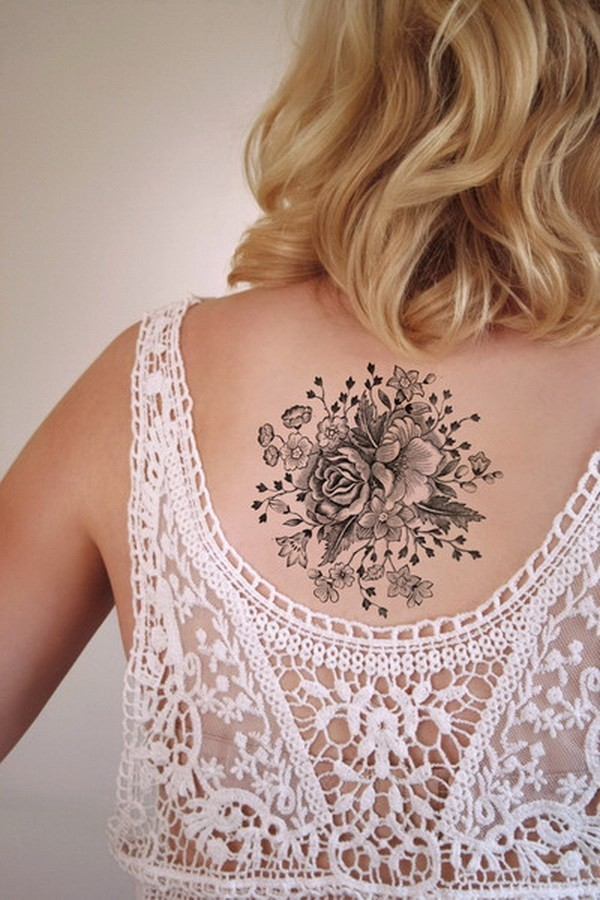 Large-Vintage-Floral-Temporary-Tattoo-1 Pretty Flower Tattoo Ideas