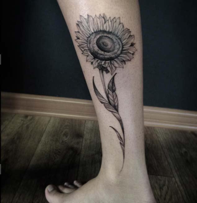 Long-Stemmed-Legwork-Of-Sunflower-Tattoo Amazing Sunflower Tattoo Ideas