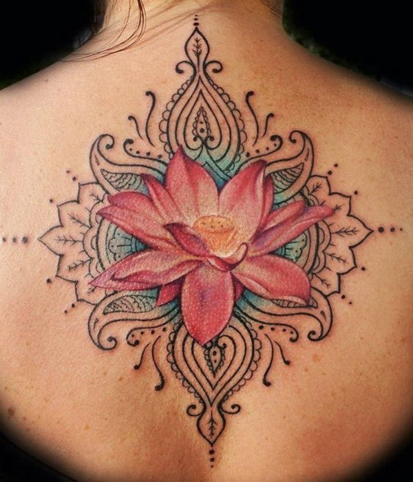 Lotus-Flower-Tattoo-On-Back 60 Awesome Back Tattoo Ideas