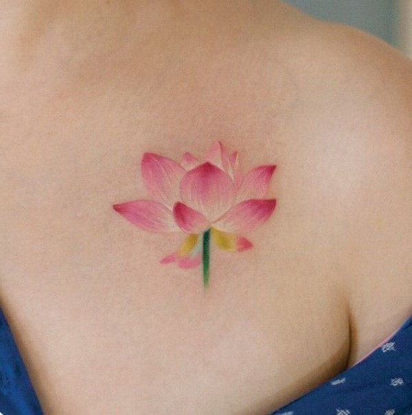Lotus-Flower-Tattoo-On-Shoulder Pretty Flower Tattoo Ideas