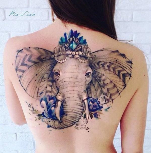 Ornate-Elephant-Back-Tattoo- 60 Awesome Back Tattoo Ideas