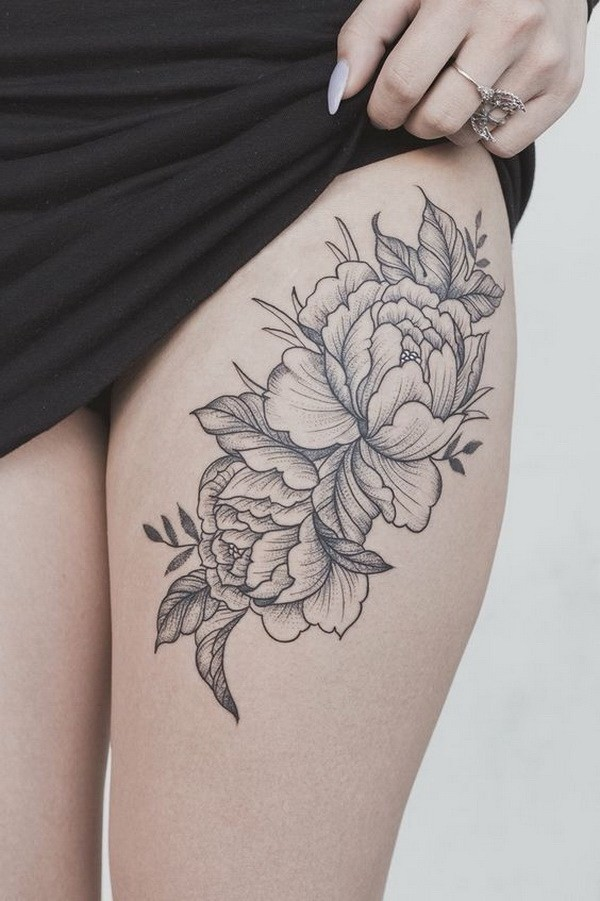 Peony-Flower-Thigh-Tattoo Pretty Flower Tattoo Ideas