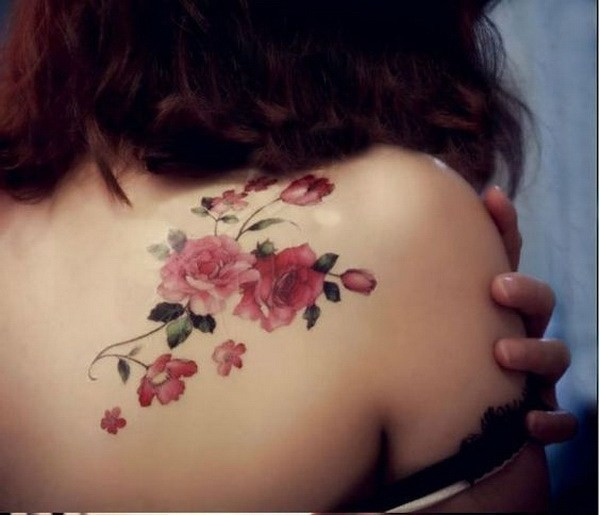 Pink-Flower-Shoulder-Tattoo Pretty Flower Tattoo Ideas