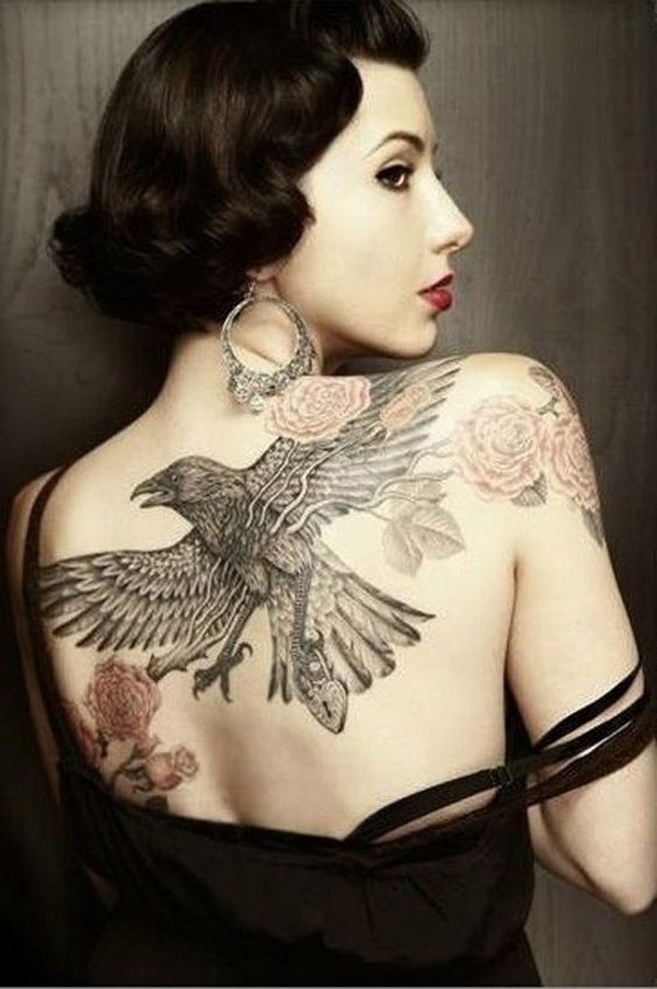 Raven-Tattoo-On-Back 60 Awesome Back Tattoo Ideas