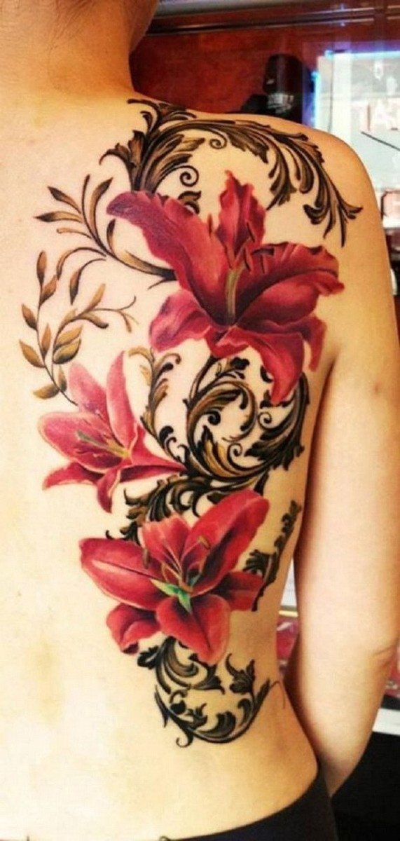 Red-Lily-Tattoo-On-Back 60 Awesome Back Tattoo Ideas