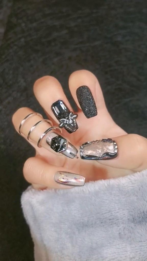 Rhinestone-Nail-Art-Ideas-11 2020 Nail Trends to Inspire Your Next Manicure #1 -  DIY Nails Compilation