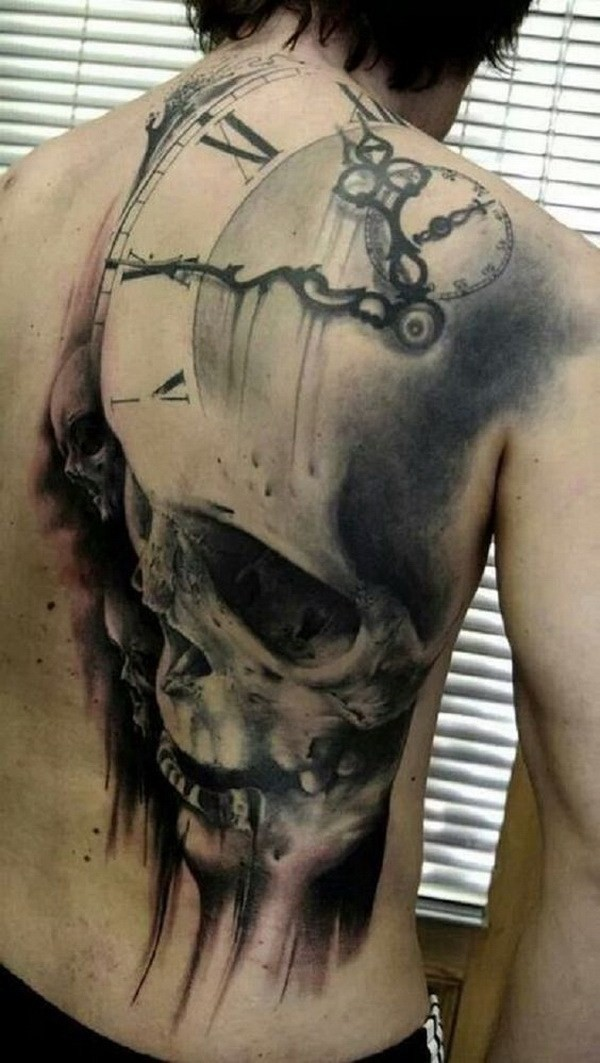 Scary-Skull-Back-Tattoo-For-Men 60 Awesome Back Tattoo Ideas