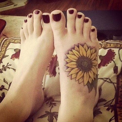 Sunflower-Tattoo-On-Foot Amazing Sunflower Tattoo Ideas