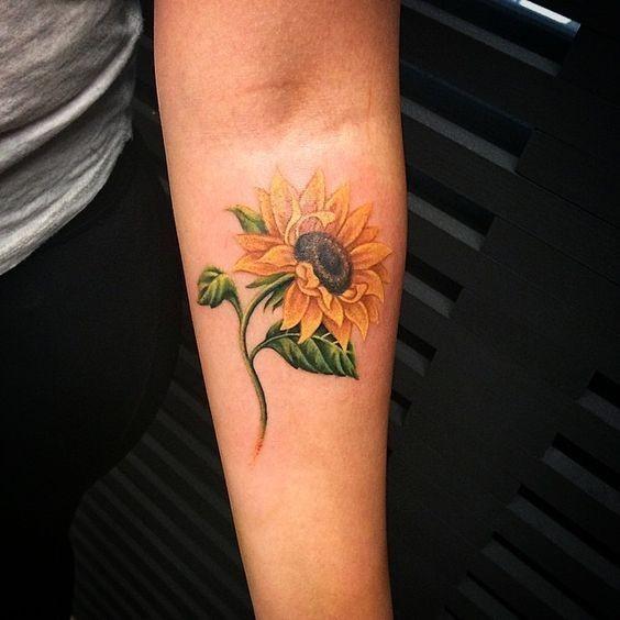 Sunflower-Tattoo-On-Inner-Arm Amazing Sunflower Tattoo Ideas