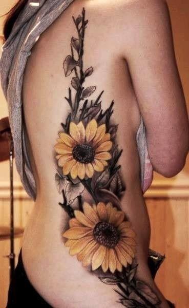 Sunflower-Tattoos-Up-Side Amazing Sunflower Tattoo Ideas