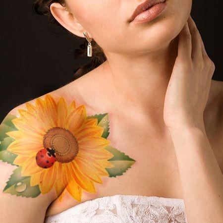 Sunflower-With-Lady-Bug-Tattoo Amazing Sunflower Tattoo Ideas