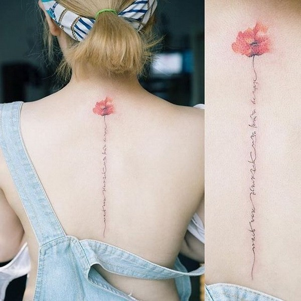 Sweet-Flower-Spine-Tattoo Pretty Flower Tattoo Ideas