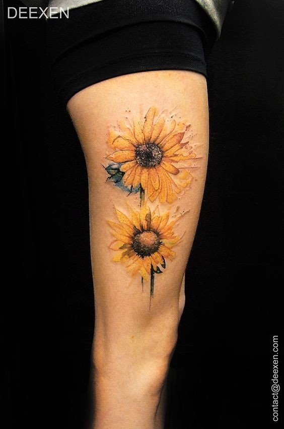 Two-Pieces-Of-Colored-Sunflowers-Tattoo-Design Amazing Sunflower Tattoo Ideas