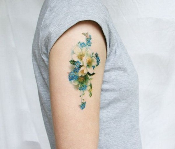 Vintage-Blue-And-White-Floral-Temporary-Tattoo Pretty Flower Tattoo Ideas
