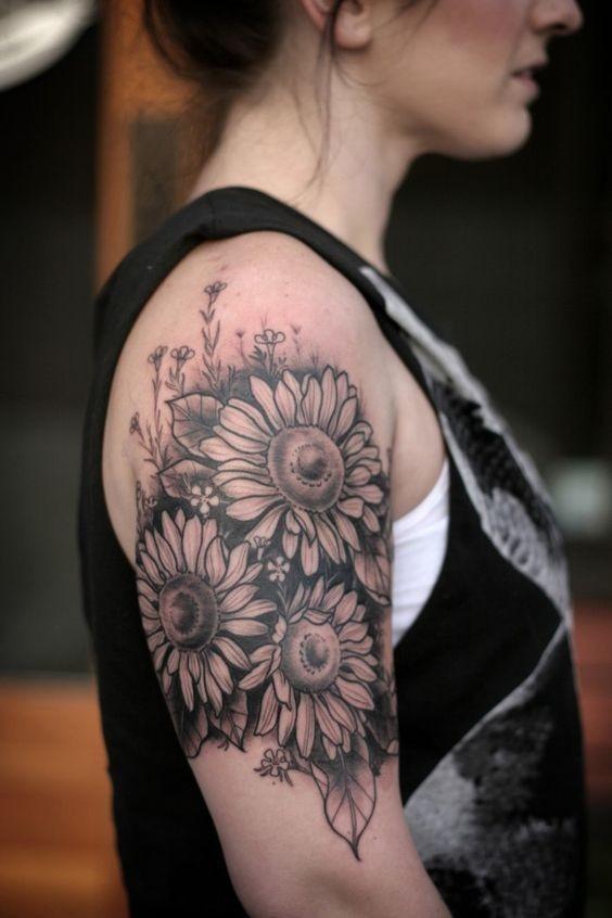 Vintage-Gray-Sunflower-Tattoo Amazing Sunflower Tattoo Ideas