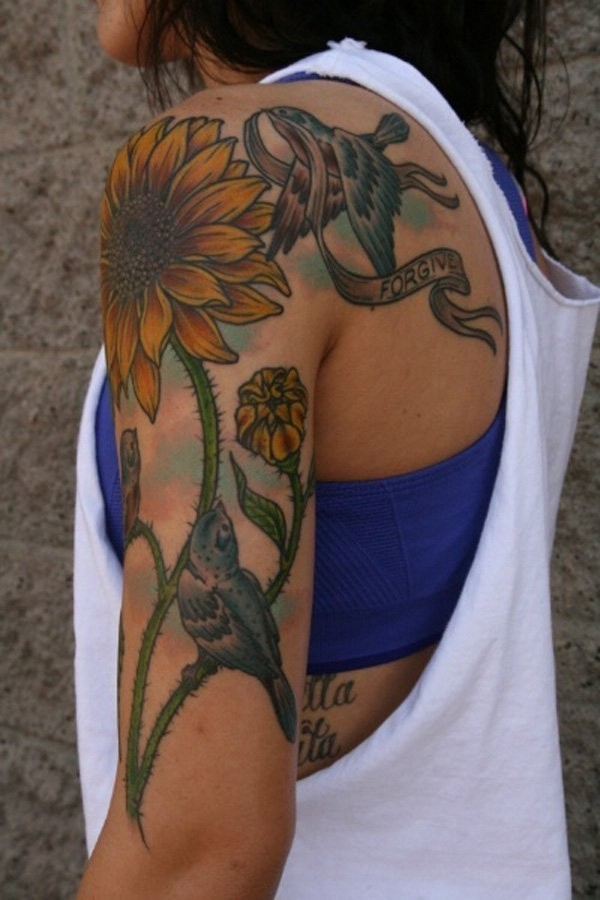 Vintage-Sunflower-Tattoo-Totally-Awesome Amazing Sunflower Tattoo Ideas