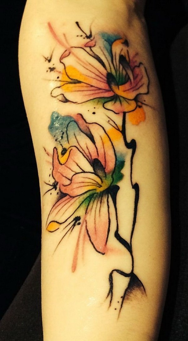 Water-Color-Magnolia-Tattoo Pretty Flower Tattoo Ideas