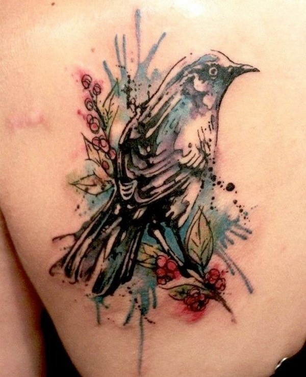 Watercolor-Bird-Tattoo-On-Back 60 Awesome Back Tattoo Ideas
