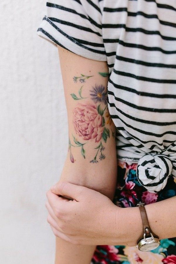 Watercolor-Floral-Tatoo-Design Pretty Flower Tattoo Ideas