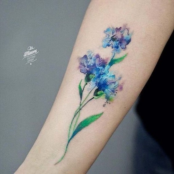 Watercolor-Flower-Tattoo Pretty Flower Tattoo Ideas