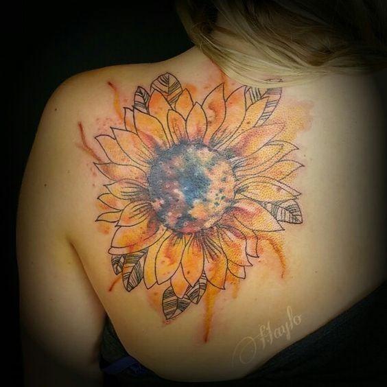 Watercolor-Style-Sunflower-Shoulder-Tattoo Amazing Sunflower Tattoo Ideas