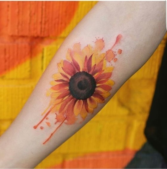 Watercolor-Sunflower-Arm-Tattoo Amazing Sunflower Tattoo Ideas