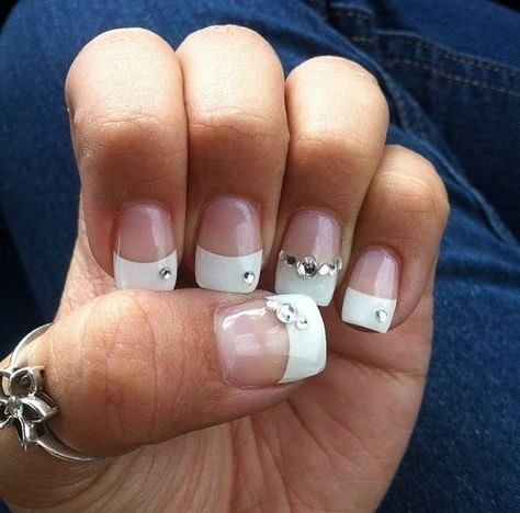 bridal-nails-wedding-nails Wedding Nails French Rhinestones Gems They Are Totally Popular Right Now