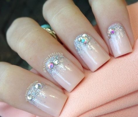 make-up-nail-art-ideas Wedding Nails French Rhinestones Gems They Are Totally Popular Right Now