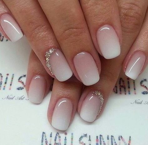 pink-ombre-nails-ombre-french-nails Wedding Nails French Rhinestones Gems They Are Totally Popular Right Now