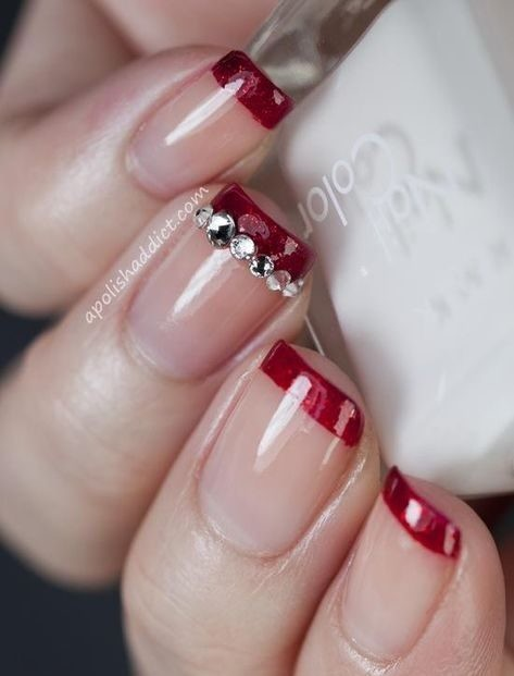 red-french-manicure-french-manicures Wedding Nails French Rhinestones Gems They Are Totally Popular Right Now