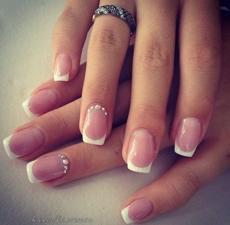 wedding-ideas-prom-ideas Wedding Nails French Rhinestones Gems They Are Totally Popular Right Now