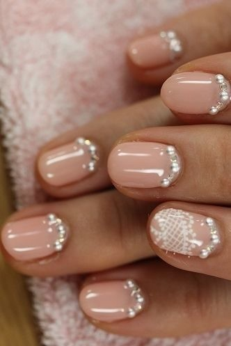 weddingideas-nude-nails Wedding Nails French Rhinestones Gems They Are Totally Popular Right Now