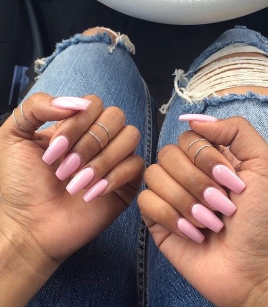 Coffin-nail-design-with-pink-based-colors Perfect Ideas for Pink Nails to Finish Feminine Look