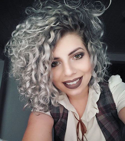 Grey-Hair-Color 20 Amazing Short Curly Hairstyle for Round Faces
