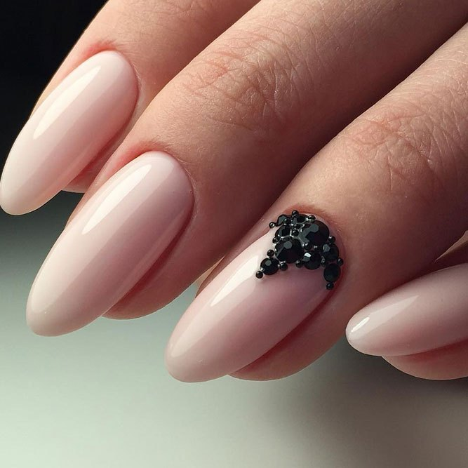 Soft-pink-nail-color-with-black-rhinestone Perfect Ideas for Pink Nails to Finish Feminine Look