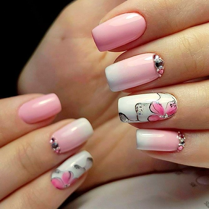 White-and-pink-ombre-nails-with-pink-flowers-and-rhinestone Perfect Ideas for Pink Nails to Finish Feminine Look