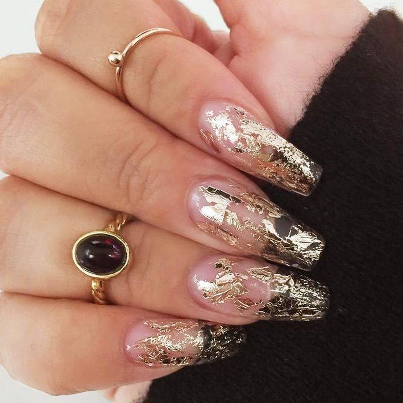 gold-foil-gorgeous-nails-coffin-transparent-base 2020 Fantastic Nail Design Ideas with Simple Accents