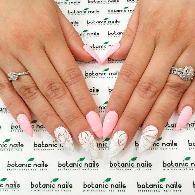 soft-pink-with-white-lace-accents Perfect Ideas for Pink Nails to Finish Feminine Look