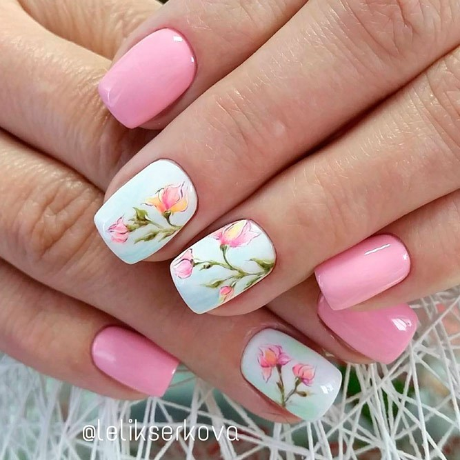 white-and-pink-nail-colors-with-pink-flowers Perfect Ideas for Pink Nails to Finish Feminine Look