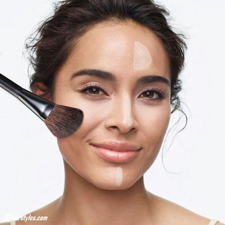 5-Applying-foundation-with-brush-1 6 Steps to Apply Makeup for Beginners